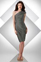 Bari Jay Shirred One Shoulder Knee Length Bridesmaid Dress 301 image