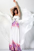 Jovani White Multi Print Long Prom Dress with Jewels 3016 image