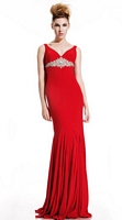 Size 6 Red Johnathan Kayne 305 Cowl Back Formal Dress image
