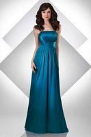 Size 8 Peacock Bari Jay Long Strapless Shirred Bridesmaid Dress 309 image