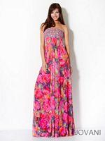 Jovani 3099 Floral Print Empire Formal Dress image