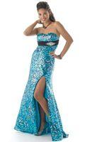 Mystique Blue Leopard Sequin Prom Dress 3114 image