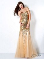 Jovani 3221 Sequin Gown with Tulle Skirt image