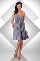 Size 16 Shadow-Ivory Bari Jay Short Bridesmaid Dress with Flowers 328 image