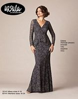 Size 14 Charcoal Ursula 33141 Lace Mother of the Bride Gown image