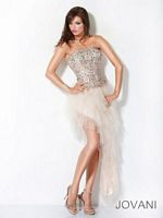 Jovani 3355 Tulle Layered Asymmetrical Formal Gown image