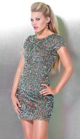 Jovani Colorful Beaded Short Sleeve Cocktail Dress 3381 image