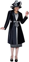 Dorinda Clark Cole 3438 Womens Black Off-White Church Suit image
