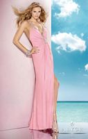 Size 2 Pink Alyce BDazzle 35582 Deep V Neck Long Dress image