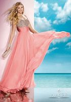 Size 4 Coral Alyce 35585 BDazzle Spaghetti Strap Formal Dress image