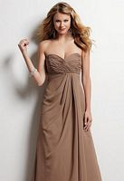 Size 6 Sable Jordan Chiffon Long Bridesmaid Dress with Satin Band 367F image