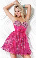 Jovani Fuchsia Strapless Beaded Homecoming Party Dress 3731 image