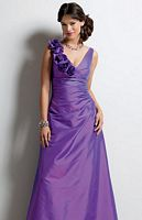 Size 6 Purple Jordan Long Bridesmaid Dress Rosettes and Ruffles 382 image