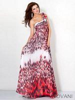 Jovani 3924 One Shoulder Print Evening Dress image