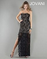 Jovani 3988 Lace Formal Dress with High Slit image