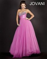 Jovani 4003 Beaded Bust Gown with Ruched Waist image