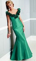 Size 12 Caterina by Jordan Teal V Neck Evening Dress with Flowers 4031 image