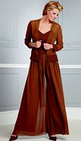 Size 26 Cappuccino Caterina by Jordan 3 Piece Dressy Pant Suit 4034 image