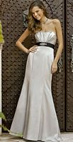 Alexia Designs Satin Mermaid Bridesmaid Dress with Ribbon Waist 4050 image