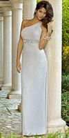 Alexia Designs Pleated One Shoulder Rhinestone Bridesmaid Dress 4070 image