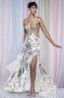 MacDuggal Prom Gold Foil Print Cut Out Prom Dress 4213M image