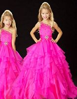 Sugar by MacDuggal Girls One Shoulder Ruffle Pageant Dress 42544S image
