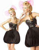 BabyDoll by MacDuggal Black Crystal Textured Short Prom Dress 42715B image