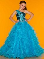 MacDuggal Sugar 42774S One Shoulder Ruffle Girls Ball Gown image
