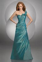 Size 14 Peacock Bari Jay One Ruffle Shoulder Bridesmaid Dress 431 image