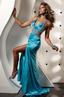 Jasz Couture Crystal Beaded Evening Dress 4325 with Cut Out Sides image
