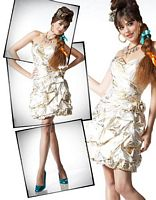 BabyDoll by MacDuggal Ivory with Gold Foil Short Prom Dress 4353B image