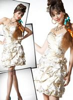 Mac Duggal Homecoming Short Ivory Gold Foiled Print Dress 4353NA image