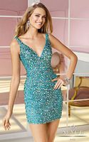 Alyce 4370 Deep V Neck Cocktail Dress image