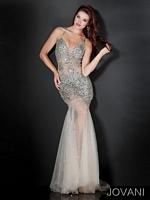Jovani 4387 Plunging Neck Formal Dress image