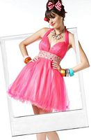 BabyDoll by MacDuggal Plunging V Neck Short Prom Dress 4459B image