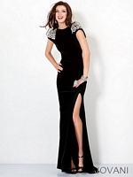 Jovani 4512 Fitted Beaded Shoulder Gown image