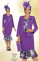 Ben Marc Womens Violet 3pc Church Suit with Print 47112 image