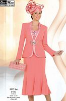 Ben Marc Womens Coral Embellished 3pc Church Suit 47113 image