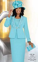 Ben Marc Womens Light Turquoise 3pc Flattering Church Suit 47114 image