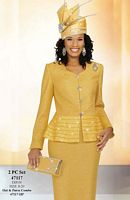 Ben Marc Womens 2pc Brocade Church Suit with Pleating 47117 image