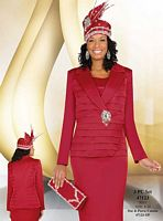 Ben Marc International Red Satin Womens Church Suit 47123 image
