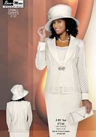 Ben Marc Womens Off White Church Suit with Sheer Jacket 47146 image