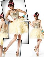 BabyDoll by MacDuggal Gold Sequin Tulle Short Prom Dress 4716B image