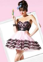 BabyDoll by MacDuggal Pink Black Lace Satin Short Prom Dress 4720B image