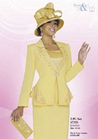 Ben Marc 47335 Womens Yellow Church Suit image