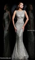 Sherri Hill 4802 Cowl Back Beaded Evening Dress image