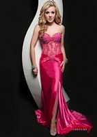 Size 10 Fuchsia Jasz 4901 Embellished Lace Corset Evening Dress image