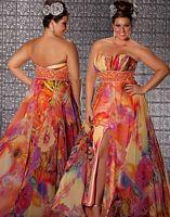 Fabulouss Orange Print Plus Size Prom Dress by MacDuggal 4902F image