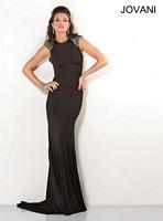 Jovani 4918 Cap Sleeve Jersey Formal Dress image