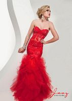 Size 2 Red Jasz 4920 Lace and Sequin Corset Bustier Mermaid Dress image